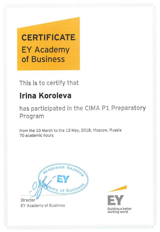 Сертификат Академии бизнеса Ernst & Young - май 2018 г.