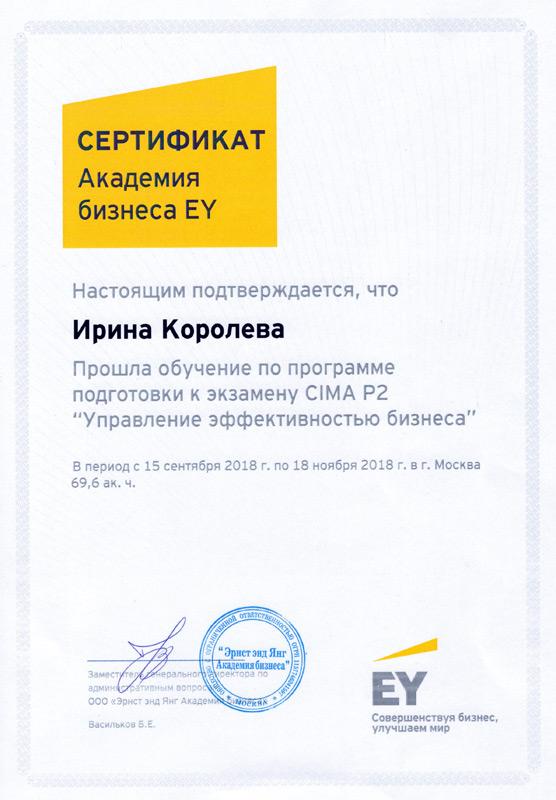 Сертификат Академии бизнеса Ernst & Young - 2018 г.